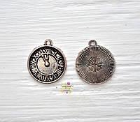 Подвеска металлическая, Часы с тиснением, 18*2мм, 1 шт., античное серебро