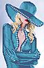 Схема для вышивки бисером Блондинка (в голубом)