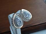 Серебряные серьги с золотой пластиной, фото 2