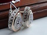 Серебряные серьги с золотой пластиной, фото 5