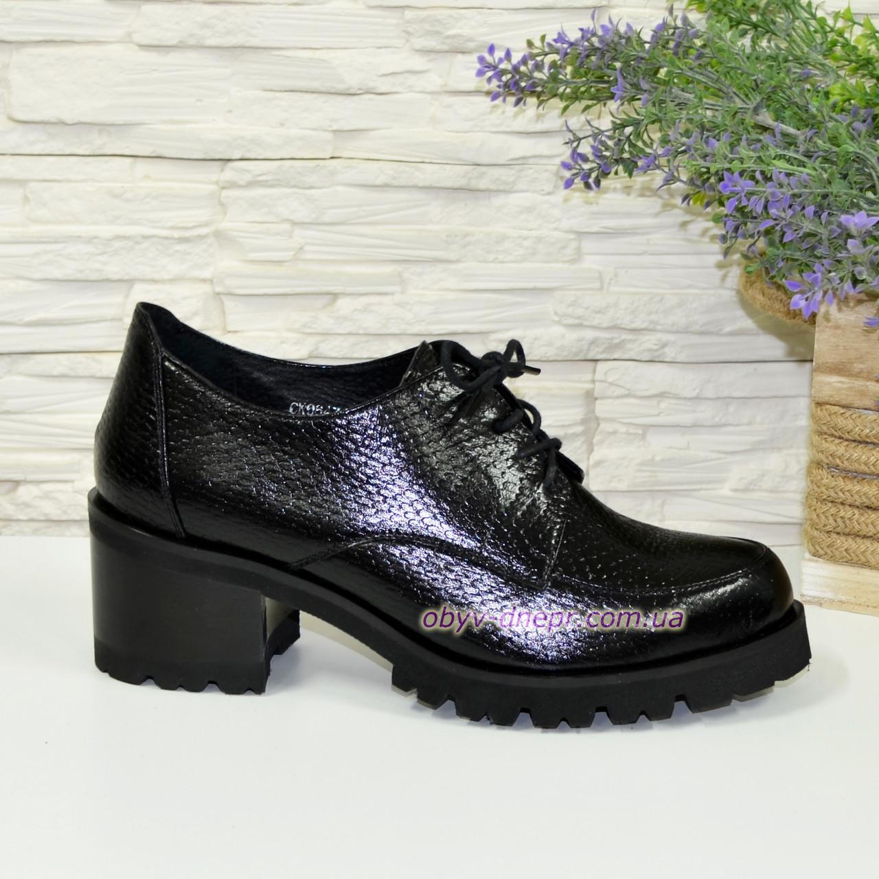 """Туфли женские на невысоком каблуке, натуральная кожа """"питон"""""""