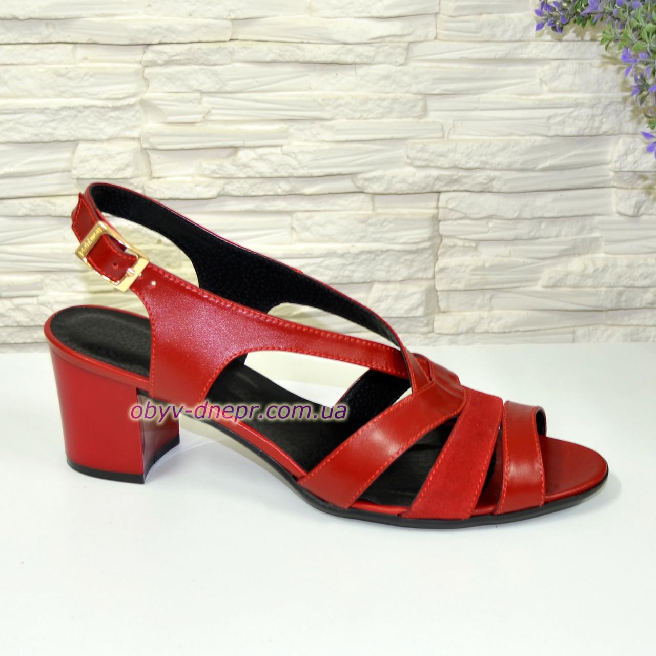 Босоножки красные женские на устойчивом каблуке, натуральная кожа и замша