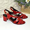 Босоножки красные женские на устойчивом каблуке, натуральная кожа и замша, фото 4