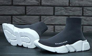 Мужские и женские кроссовки Balenciaga Speed Trainer Sock Grey/White, фото 3