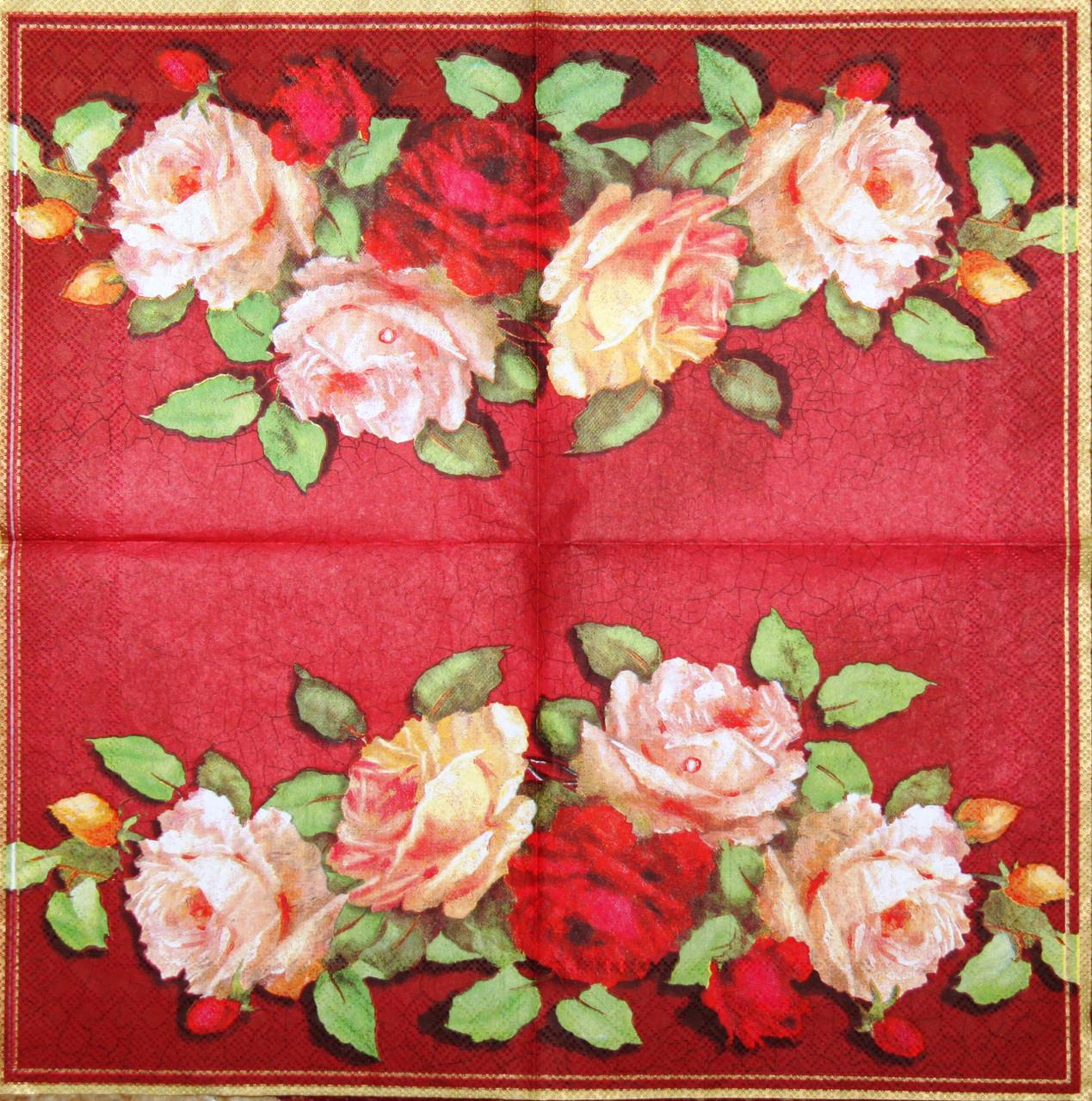 Декупажная салфетка Розы на красном фоне 7404