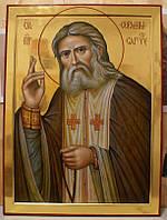 Золочение сусальным золотом икон Святого Серафима Саровского.