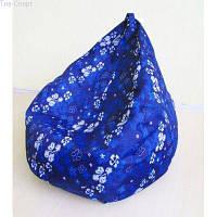Бескаркасное кресло-мешок Груша Принт синие цветы ТМ Tia-sport sm-0063, фото 1