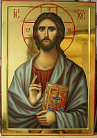 Золочение сусальным золотом икон Иисуса Христа.