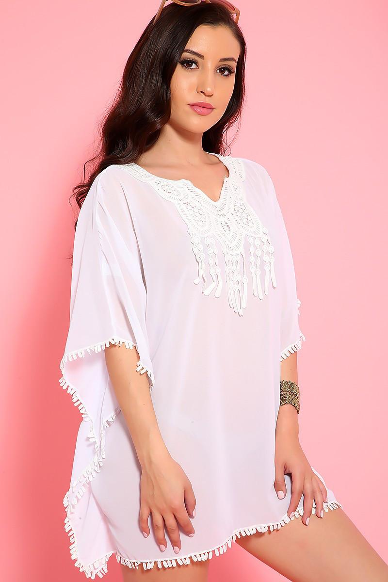 3ee533b2e8b Белая пляжная туника разлетайка из шифона Д-0084 - Lace Secret - Магазин  женского белья