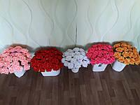Искусственные цветы Роза ручной работы из атласной ленты.