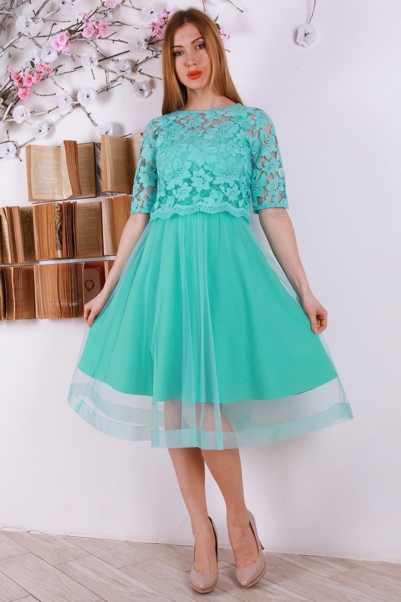 Нарядное платье с сеткой