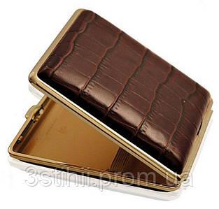 Портсигар VH 901149 для 18 KS/24 слим сигарет, кожа Dino коричневая