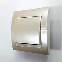 Выключатель 1-клавишный жемчужно-белый металлик Deriy Lezard