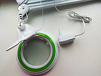 Led лампа 3 D белая  металлическая с зеленым кантом