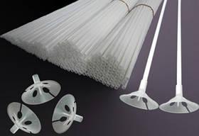 Палочки с зажимом (комплект 100 шт) для воздушных шаров белые