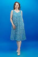 Жіноча легка батистова голуба нічна сорочка з принтом у східному стилі №741-7