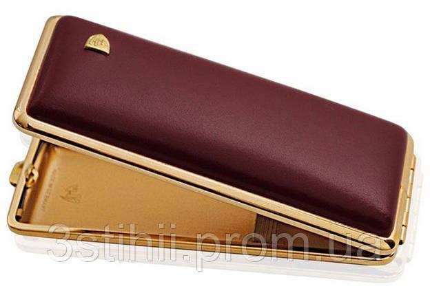 Портсигар VH 904108 для 8 KS/12 Super KS сигарет кожаный Бордовый, фото 2