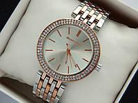 Женские наручные часы Michael Kors серебро-розовое золото с двумя рядами страз