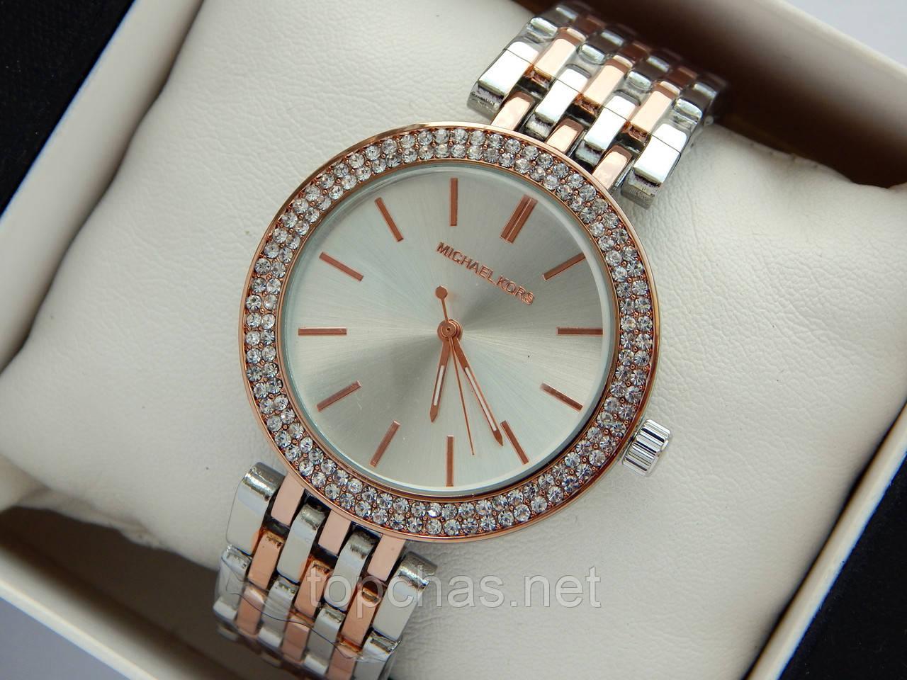 2d749dd39a61 Женские наручные часы Michael Kors серебро-розовое золото с двумя рядами  страз