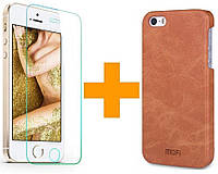Комплект Накладка Mofi (коричневый) и Защитное Стекло iPhone 5 5S SE (Айфон 5 5С СЕ)
