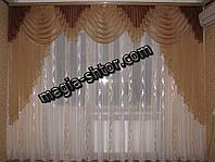 Шифоновый ламбрекен на карниз 3 метра