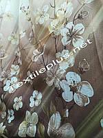 Тюль компаньон коричневый