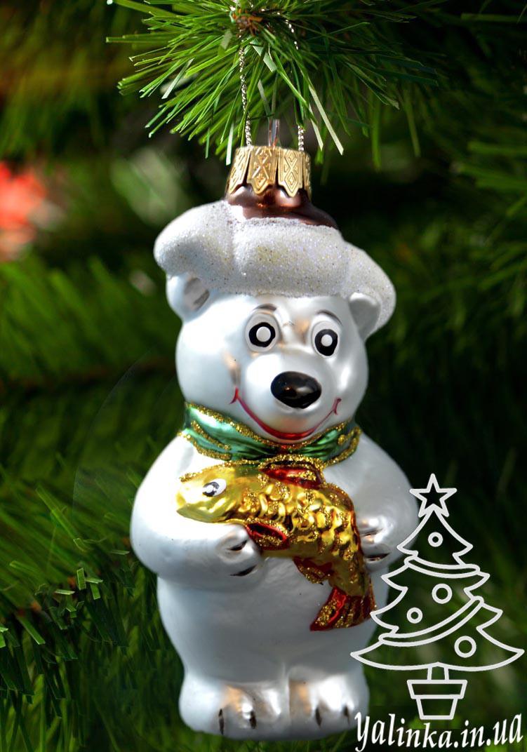 Скляна ялинкова іграшка Ведмедик з рибою 0074