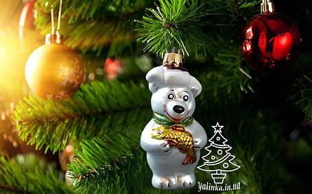Скляна ялинкова іграшка Ведмедик з рибою 0074, фото 2