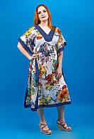Легкий жіночий синій батистовий кафтан (кафтан женский) з квітковим принтом №79-1