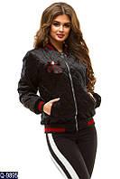 Стильная куртка женская из велюра стеганая черная