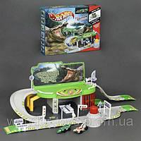 Парковка Гараж ХОТ ВИЛС 623 Атака крокодила  2 металл. машинки, 2 эт., запускной механизм