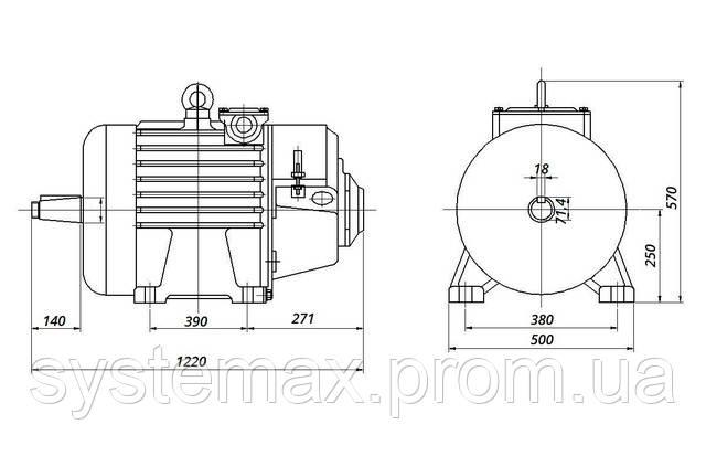 МТН 512-8 - IM1003 на лапах (габаритные и установочные размеры)