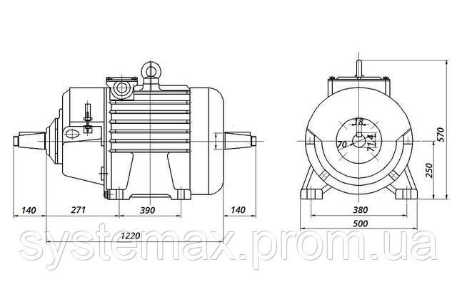 МТН 512-8 - IM1004 комбинированный (габаритные и установочные размеры)