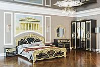 Модульная система для спальни «Кармен Новая Люкс» Комплект_2: кровать 2сп (1,6м), тумбочка (2 шт.), комод, зеркало, шкаф 6Д, черное золото