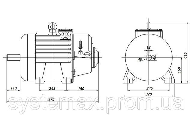 МТН 211-В6 - IM1001 на лапах (габаритні і настановні розміри)