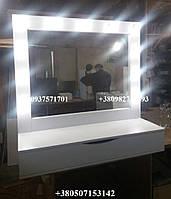 Гримерное зеркало сящиком-органайзером, Модель А129 цвет белый, фото 1