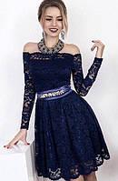 Платье темно-синее ,на Новый год,гипюр на поясе стразы  34550