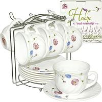 Набор чайный 12 пр.на стойке (чашка-190мл, блюдце-14см)Весенние цветы
