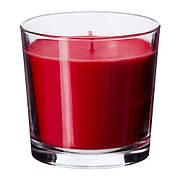 СИНЛИГ Ароматическая свеча в стакане, сладкие ягоды, красный, 9 см 10251093 IKEA, ИКЕА, SINNLIG