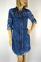 Жіноча джинсова  туніка з вишивкою Neon