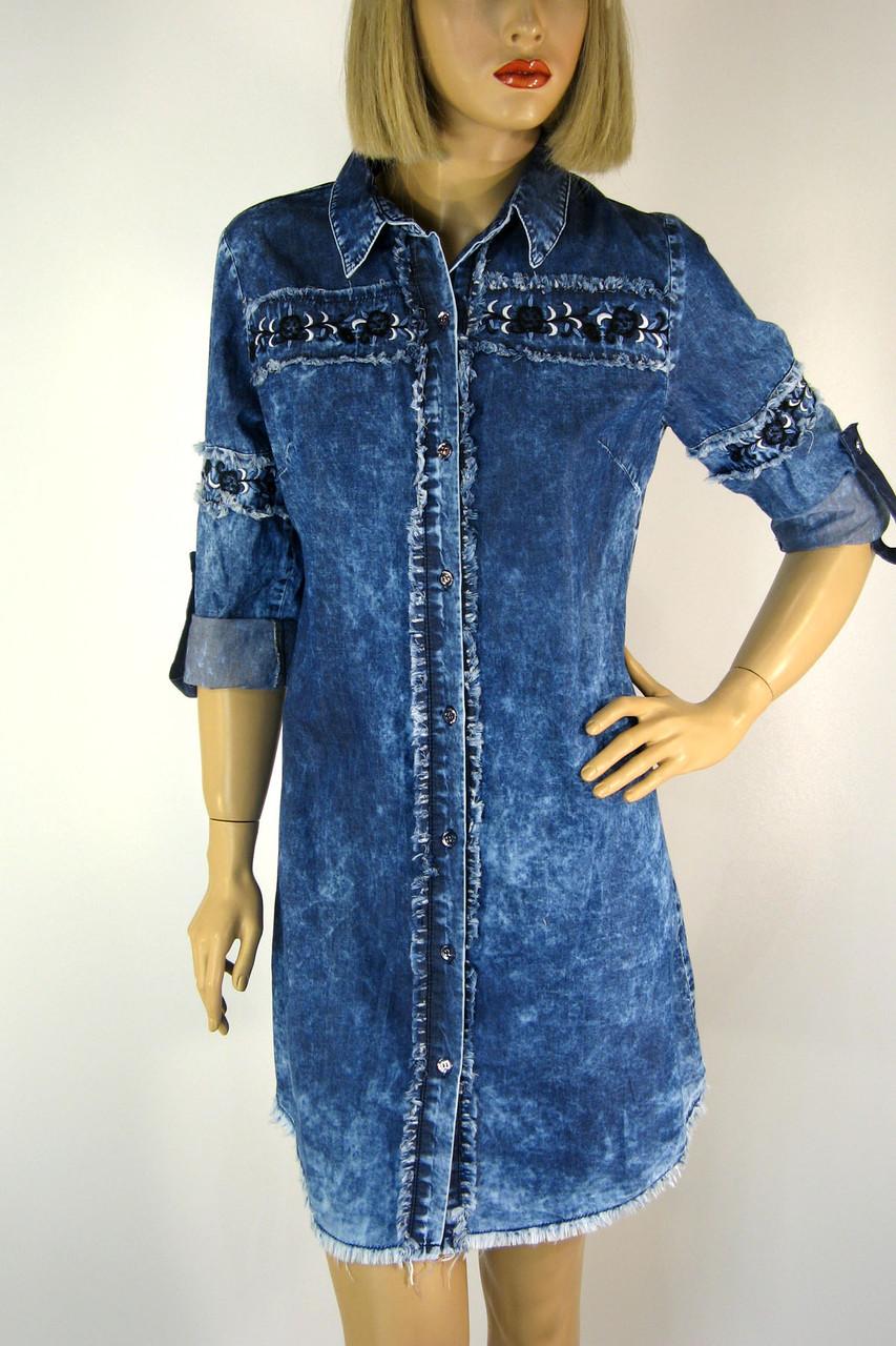 Джинсове плаття туніка з вишивкою Neon