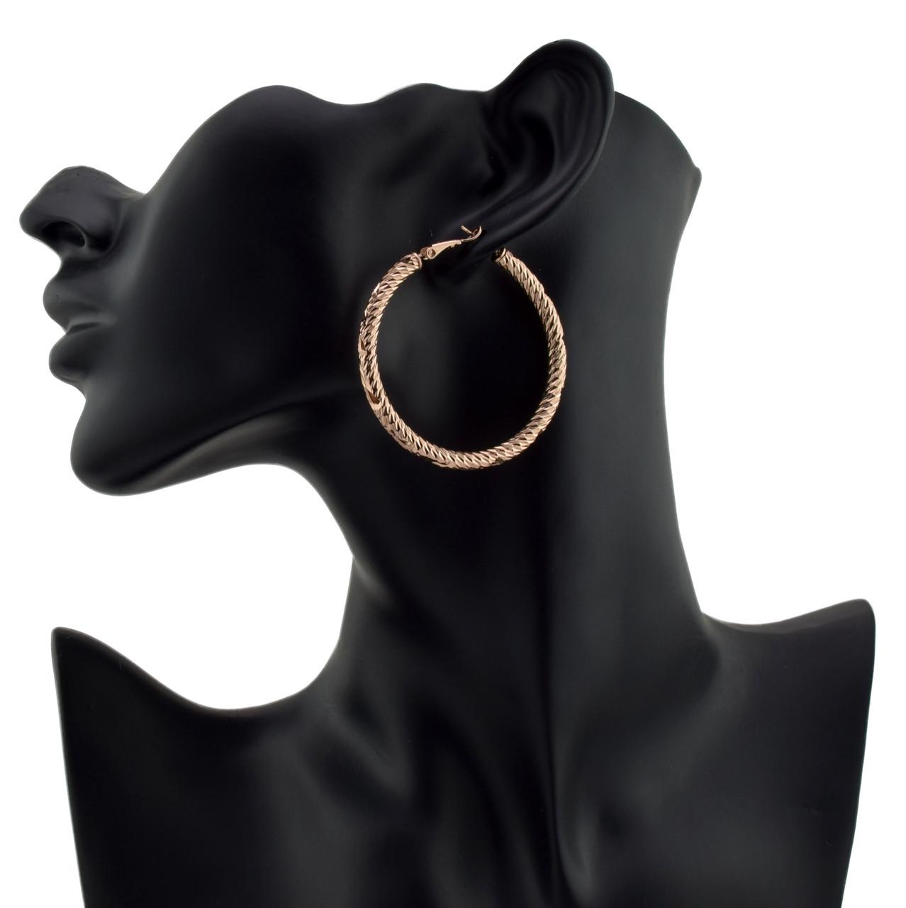 Серьги-кольца 54806 размер 48*4 мм, позолота РО