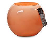"""Ваза стеклянная 25 см., оранжевая """"Персиковый"""", Franco"""