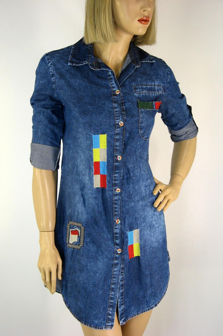 Жіноча джинсова сорочка туніка з вишивкою Ezra