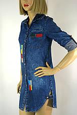 Жіноча джинсова сорочка туніка з вишивкою Ezra, фото 3