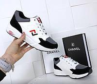 Кроссовки женские белые с замшевыми вставками, фото 1