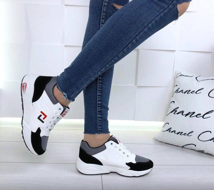 Кроссовки женские белые с замшевыми вставками, фото 2