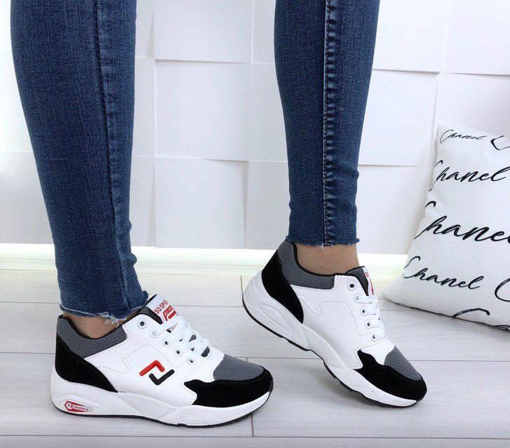 Кроссовки женские белые с замшевыми вставками, фото 3