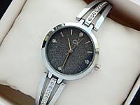 Женские часы Calvin Klein с черным циферблатом, серебро, на тонком браслете, фото 1