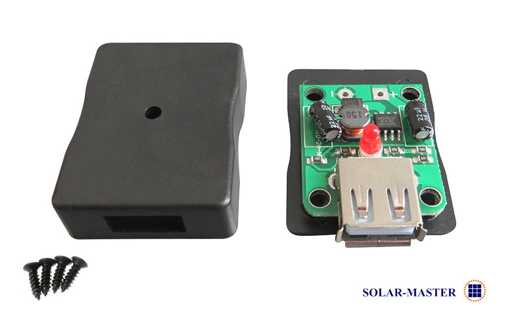 Понижающий преобразователь DC-DC 2А с корпусом (вход 6-20 Вольт, выход 5 Вольт USB) для солнечных панелей